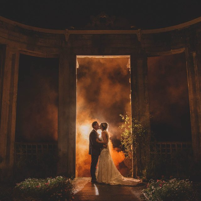 orchardleigh house wedding couple night smoke fashion