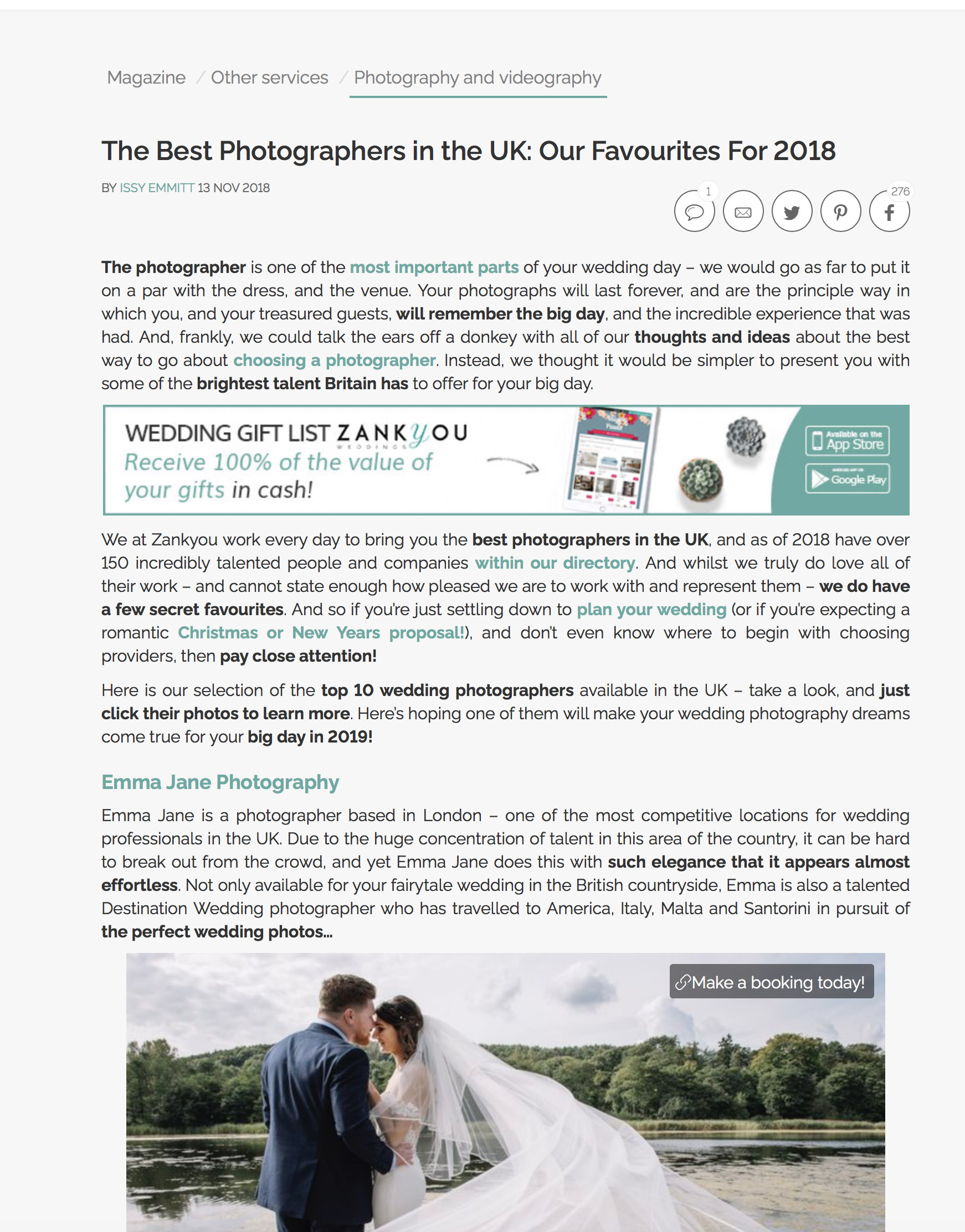 Listed as one of the Top 10 wedding photographers of the UK